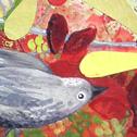 Close up detail of Berry Birds: original painting