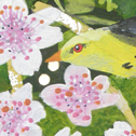 Close up detail of Blossom Birds: original painting