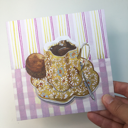 Coffee Macaroon greetings card